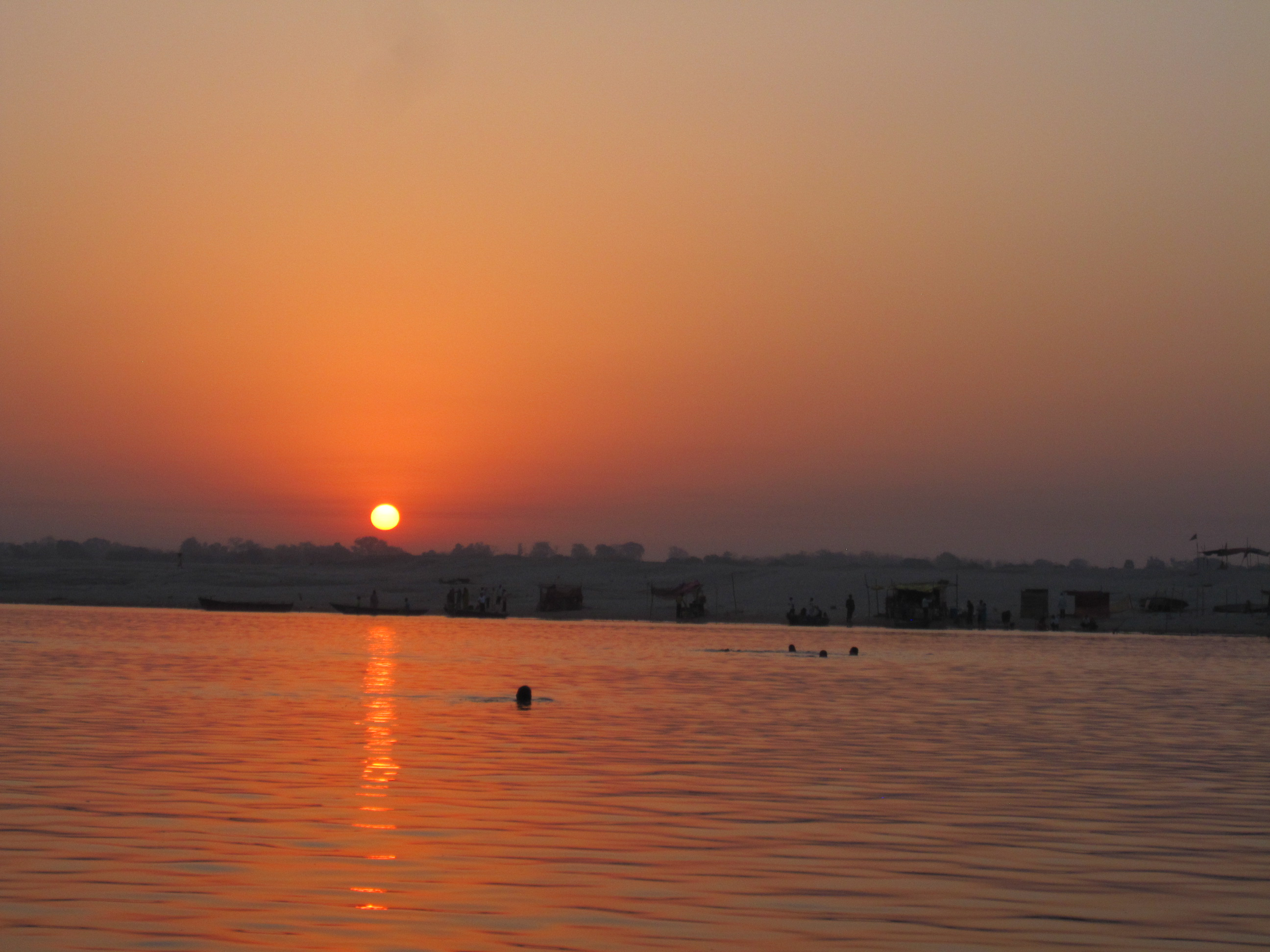 Sunrise swimmers on the Ganges