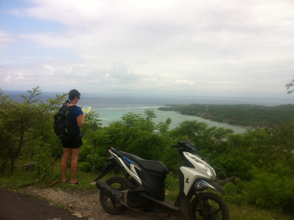 Checking our directions on the island of two roads