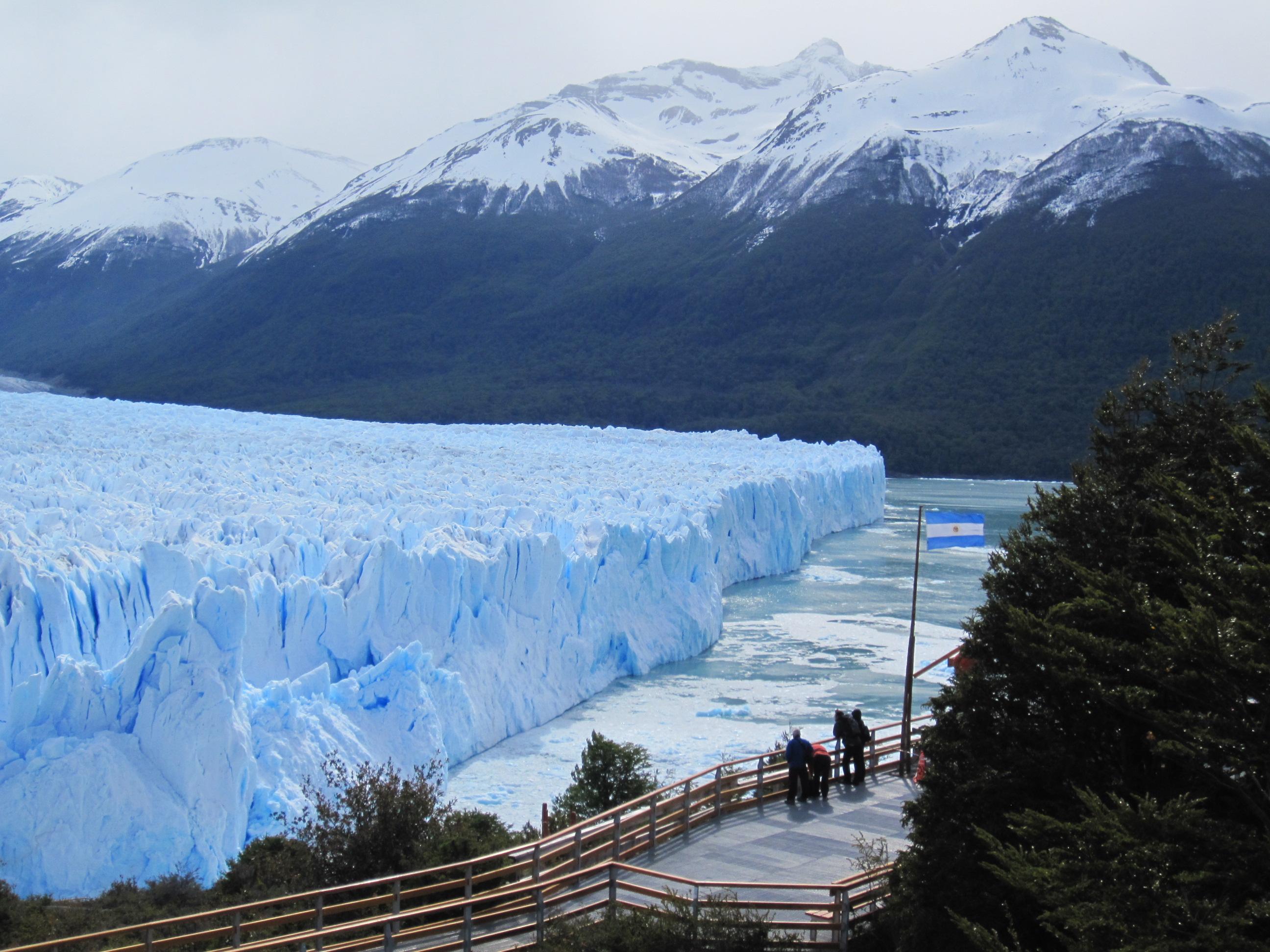 Perito Moreno looks on warily