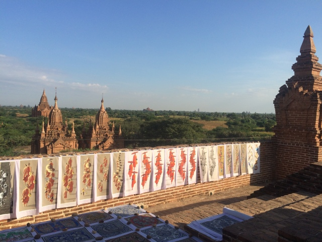 Day-old paintings covering the 800-year old monument