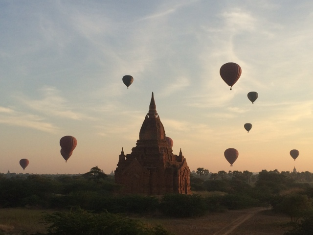The sun rises over Bagan