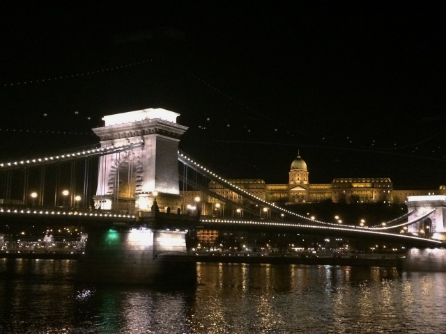 Chain bridge by night